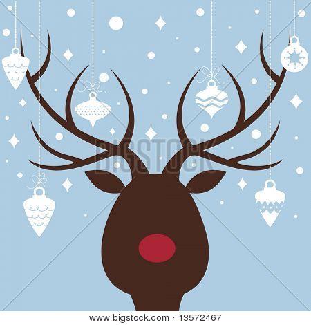 vector elk of christmas card