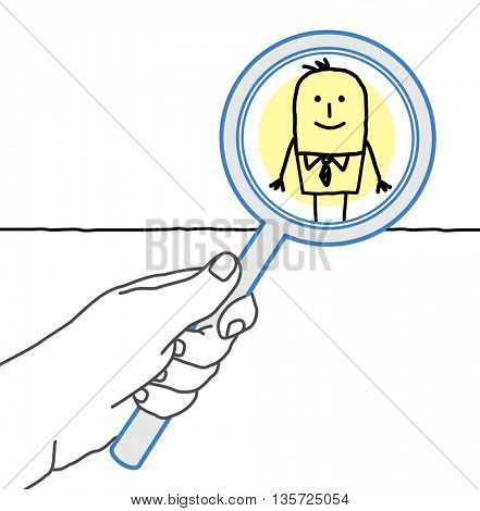 Big hand and  businessman - supervising and magnifying