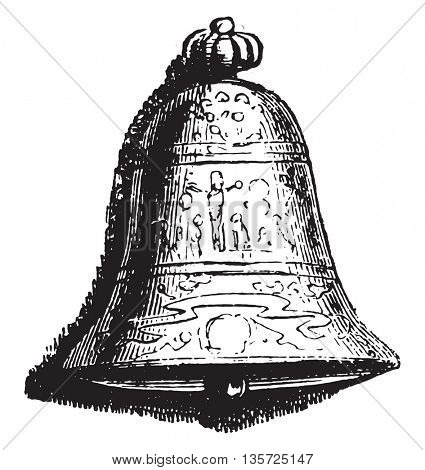 At the Bell, vintage engraved illustration. Magasin Pittoresque 1852.