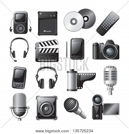 Vector illustration of 16 detailed icons of multimedia gadgets.