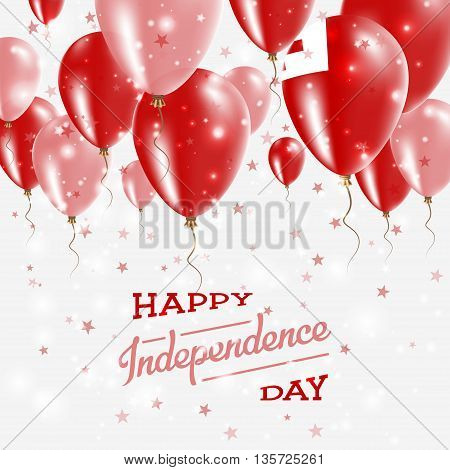 Tonga Vector Patriotic Poster. Independence Day Placard With Bright Colorful Balloons Of Country Nat