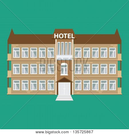 Hotel building icon. Cute Hotel building with flat style vector illustration with nice windows.