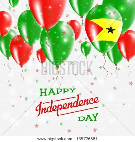 Sao Tome And Principe Vector Patriotic Poster. Independence Day Placard With Bright Colorful Balloon