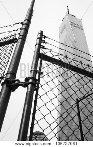 World Trade Center Through The Fence With Barbed Wire