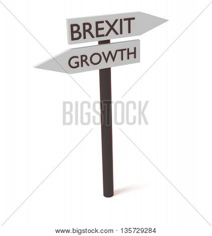 Brexit and growth: guidepost 3d illustration on a white background