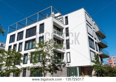 Beautiful modern apartment house seen in Berlin, Germany