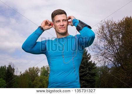 Sporty Man In Blue Thermo-active Shirt
