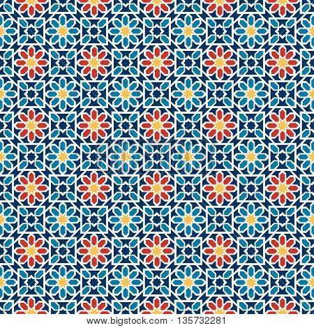 Islamic seamless pattern. Arabian geometric oriental pattern for holiday cards. Vector illustration