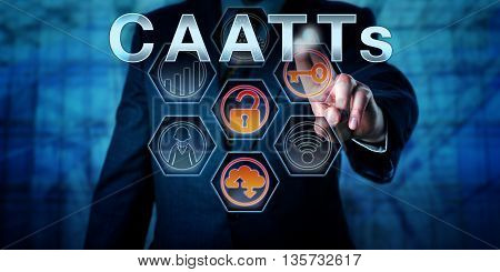Male state regulator or corporate auditor is touching CAATTs on an interactive virtual control monitor. Business risk metaphor and IT concept for Computer-Assisted Audit Tools and Techniques.