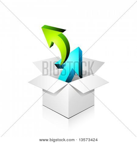 poster of gift box full of arrows, over white, isolated