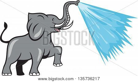 Illustration of an african elephant marching prancing spraying water from trunk viewed from the side set on isolated white background done in cartoon style.