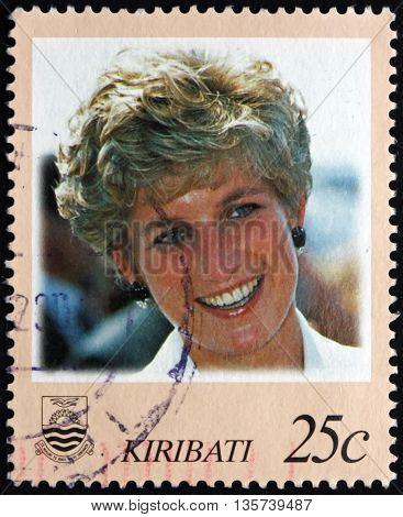 KIRIBATI - CIRCA 1998: a stamp printed in Kiribati shows Diana Princess of Wales circa 1998