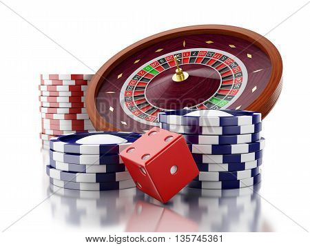 3d renderer image. Casino roulette wheel with chips and dice. Gambling games. Isolated white background.