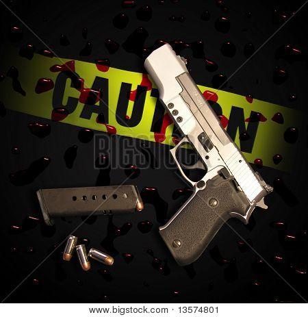 A photo of a gun in a crime scene