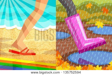Legs of walking person. One foot with slipper, beach and sea at background, sunrays at foreground; another foot with rubber shoe, puddles at background, rain at foreground. Step from summer to autumn