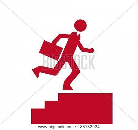 Simple cartoon silhouette  of a businessman running