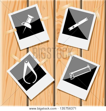 4 images: push pin, spirit level, hacksaw, caliper. Angularly set. Photo frames on wooden desk. Vector icons.