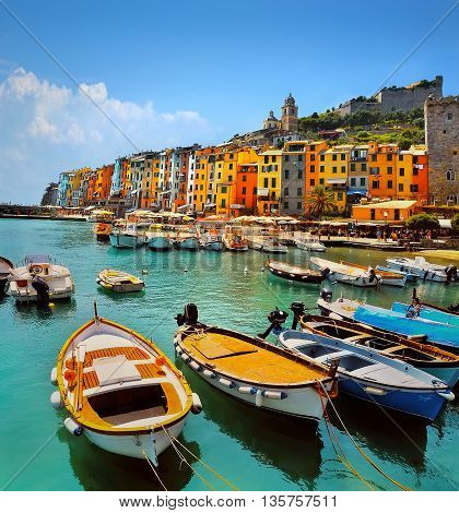 Portovenere Cinque Terre with colorful houses and boat
