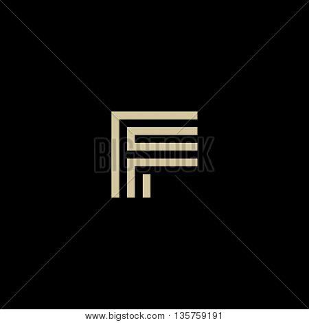 Unusual geometric letter F. Architecture vector logo. Isolated monogram
