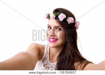 Latina woman taking selfie