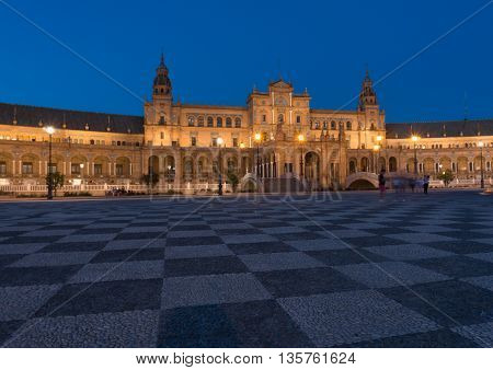 evening view of Spanish Square (Plaza de Espana) Seville Spain