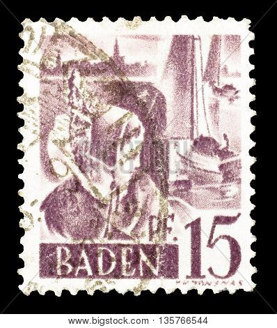 BADEN - CIRCA 1948 : Cancelled postage stamp printed by Baden, that shows woman.