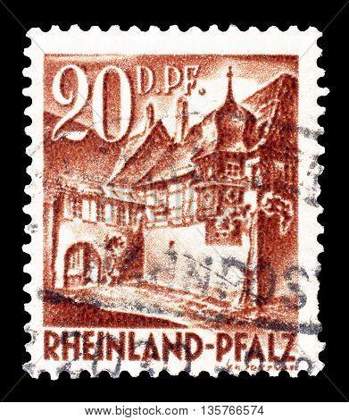 RHEINLAND - CIRCA 1948 : Cancelled postage stamp printed by Rheinland, that shows Saint Martin.