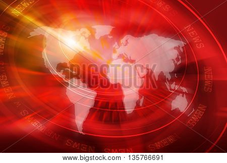 Graphical World News Studio Background 3d illustration