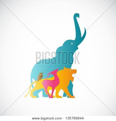 Vector image of an animal design on white background. Vector animal for your desig. Elephant Lion Deer Owl Beast Wildlife Groups