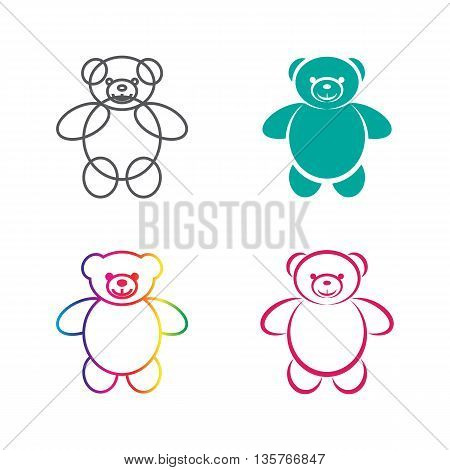 Vector images of teddy bear on a white background. Vector teddy bear for your design.