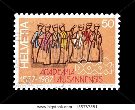 SWITZERLAND - CIRCA 1987 : Cancelled postage stamp printed by Switzerland, that shows Representatives of the faculties.