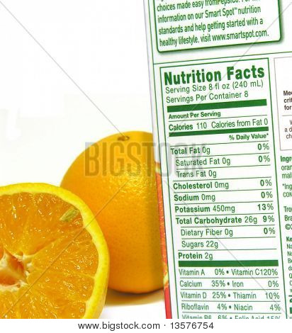 A photo of the nutritional information of a carton and oranges