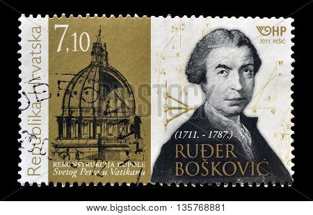 CROATIA - CIRCA 2011 : Cancelled postage stamp printed by Croatia, that shows Ruger Boskovic.