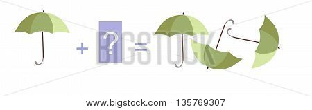 Cartoon illustration of mathematical addition. Example with umbrellas. Educational game for children.