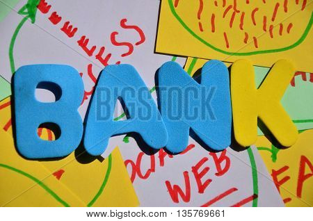 word bank on a  abstract colorful background