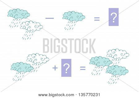 Cartoon illustration of mathematical addition and subtraction. Examples with clouds. Educational game for children.