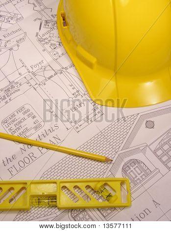 Ein Foto der Startseite Pläne mit Bauwerkzeuge