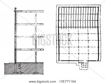 Building section and plan view of spinning, vintage engraved illustration. Industrial encyclopedia E.-O. Lami - 1875.
