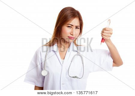 Crazy Young Asian Female Doctor Hold A Syringe