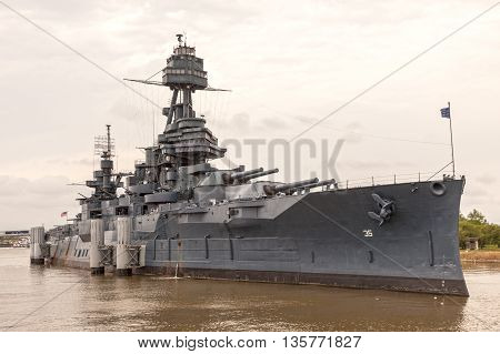 HOUSTON USA - APR 12: Historic battleship USS Texas at the San Jacinto Battleground near Houston. April 12 2016 in Houston Texas United States