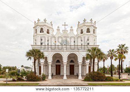 GALVESTON, USA - APR 13: Sacred Heart Catholic Church in the city of Galveston. April 13, 2016 in Galveston, Texas United States