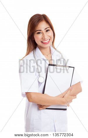 Asian Young Female Doctor Hold A Clipboard
