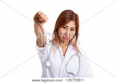 Young Asian Female Doctor Angry Show Thumbs Down