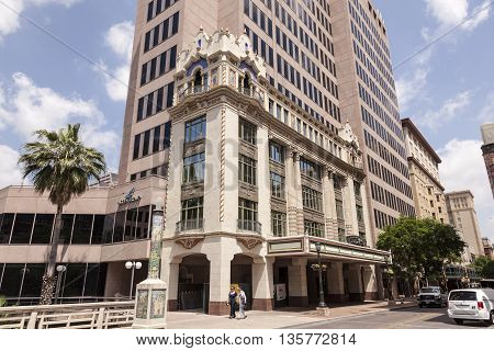 SAN ANTONIO USA - APR 11: Art Deco architecture in the city of San Antonio Texas. April 11 2016 in San Antonio Texas United States