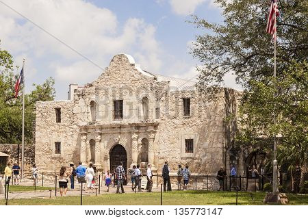 SAN ANTONIO USA - APR 11: The Alamo Mission in San Antonio. April 11 2016 in San Antonio Texas USA