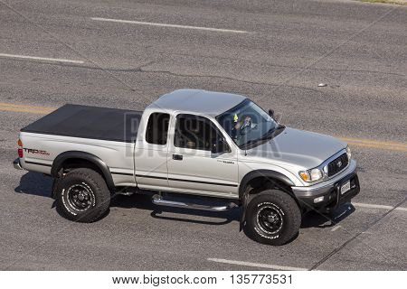 AUSTIN USA - APR 11: Toyota Tacoma TRD off road pickup truck on the street in Austin Texas. April 11 2016 in Austin Texas United States