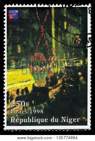 Republic of Niger - CIRCA 1998 A stamp printed in Republic of Niger shows a painting by Pierre Bonnard, effect of night, the Moulin Rouge also known as leaving the Moulin Rouge, circa 1998