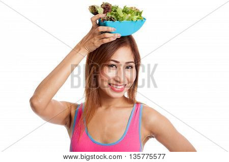 Beautiful Asian Healthy Girl With Salad
