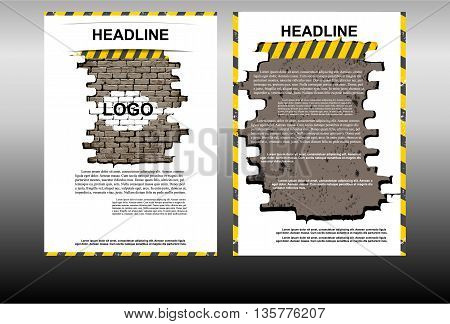 Vector illustration booklet template with a brick wall construction theme on a white background. Showing two sides front and back of the booklet.