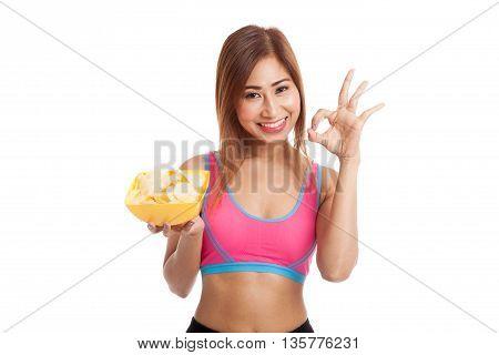 Beautiful Asian Healthy Girl  Eat Potato Chips Show Ok Sign